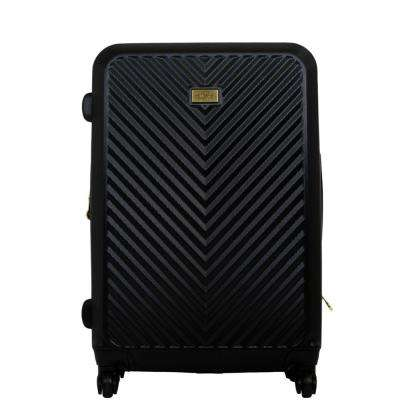 27 in Black Molded Quilt Hard Sided Rolling Luggage