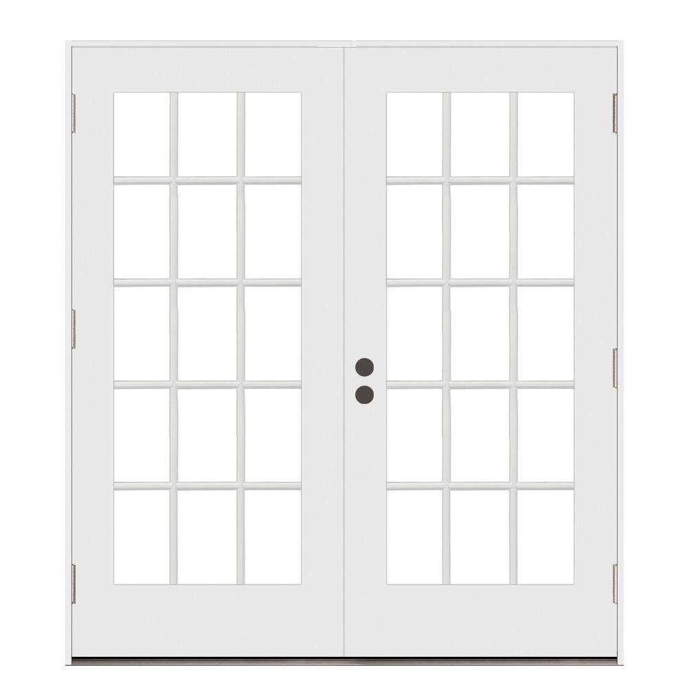 Jeld Wen 72 In X 80 In Primed Steel Right Hand Outswing 15 Lite Glass Stationary Active Patio