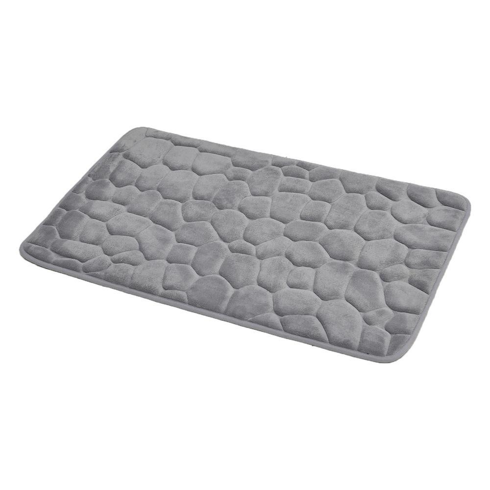 Bath Mat 2 Pieces Memory Foam Set Pebbles Design Polyester Non Slip Super Soft