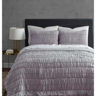Ultra Soft Garment Wash Rouched 3 piece Lilac King Quilt Set