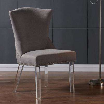 Jade 39 in. Taupe Fabric and Acrylic Finish Modern Dining Chair