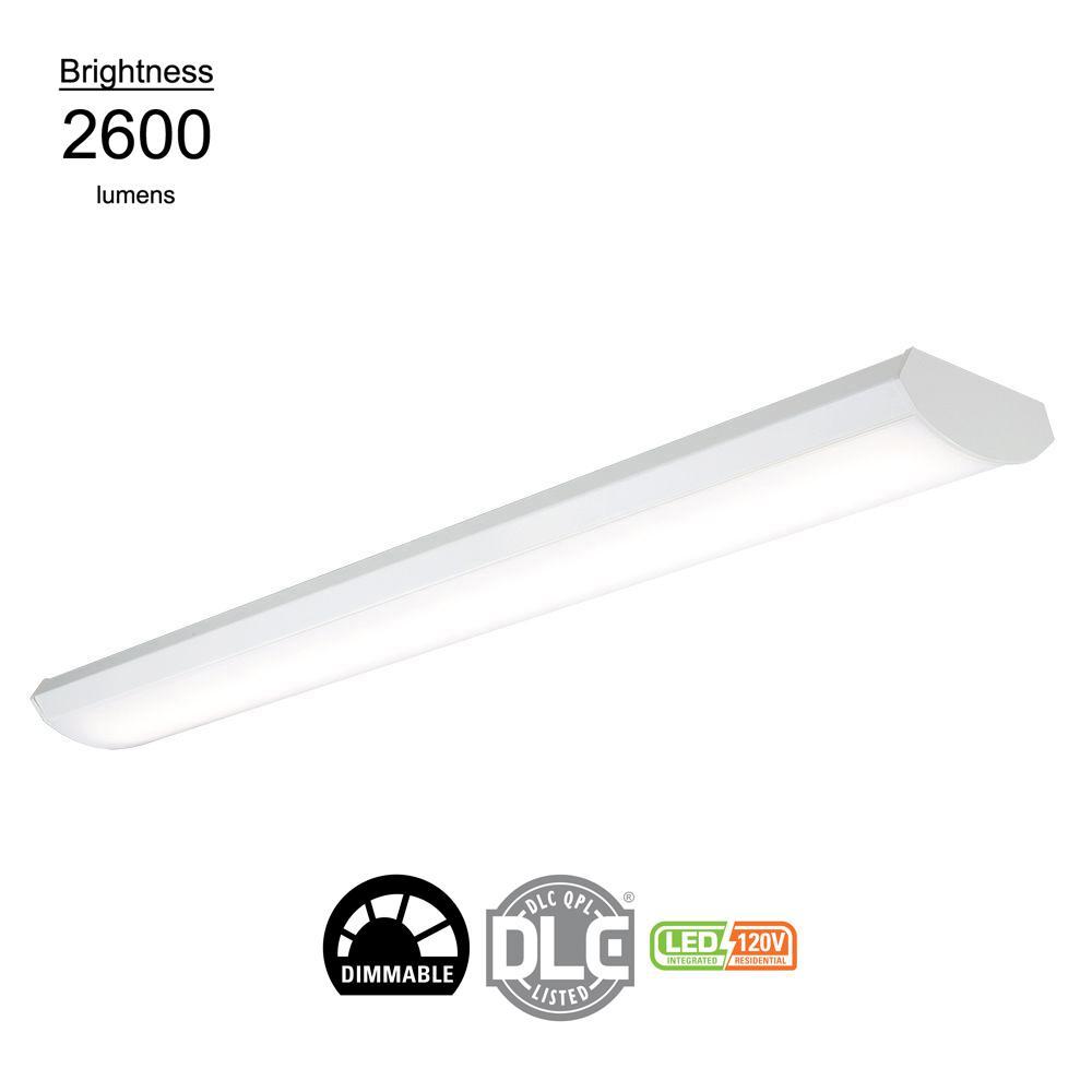24-Watt 4 ft. White Low Profile Linear Integrated LED Wraparound Light, 2600 Lumens, 120-Volts
