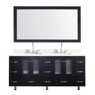 Americano 73 in. Bath Vanity in Black with Quartz Vanity Top in White with White Basins and Mirror