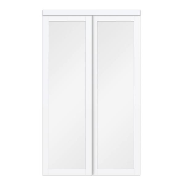 TRUporte 60 in. x 80 in. White Twilight Frosted Glass MDF Wood Sliding Closet Door