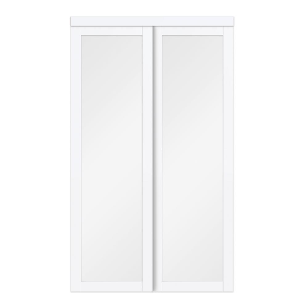 72 in. x 80 in. White Twilight Frosted Glass MDF Wood Sliding Closet Door