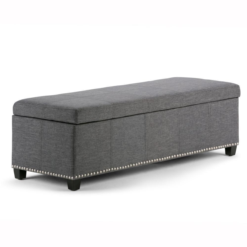 Kingsley Slate Grey Large Storage Ottoman Bench