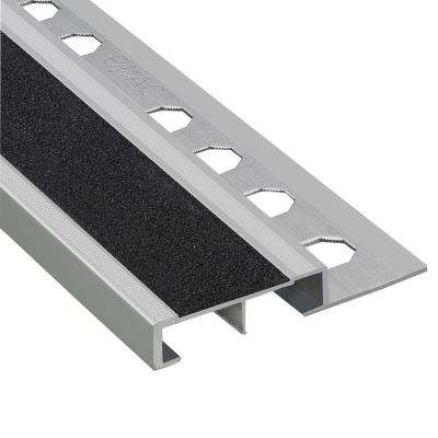 Novopeldano Safety Plus Matt Silver-Black 3/8 in. x 98-1/2 in. Aluminum Tile Edging Trim