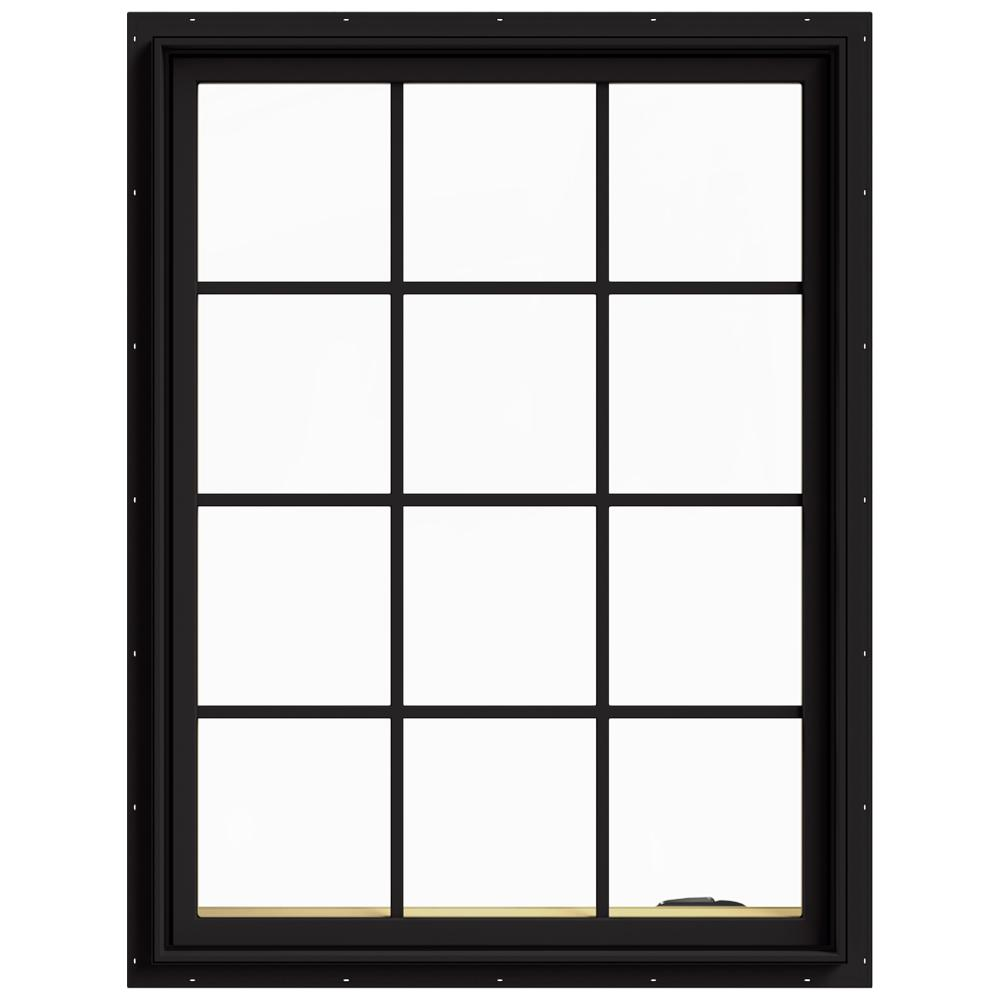 JELD-WEN 36 in. x 48 in. W-2500 Series Black Painted Clad Wood Right-Handed Casement Window with Colonial Grids/Grilles