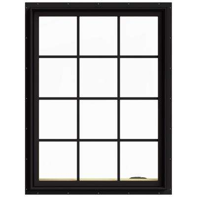 36 in. x 48 in. W-2500 Series Black Painted Clad Wood Right-Handed Casement Window with Colonial Grids/Grilles