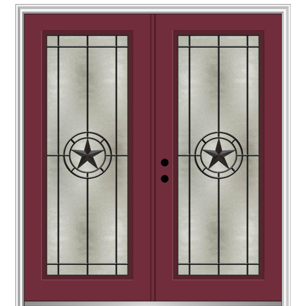 Mmi Door Elegant Star 64 In X 80 In Right Hand Full Lite Decorative Glass Burgundy Painted Fiberglass Prehung Front Door Z03745460r The Home Depot