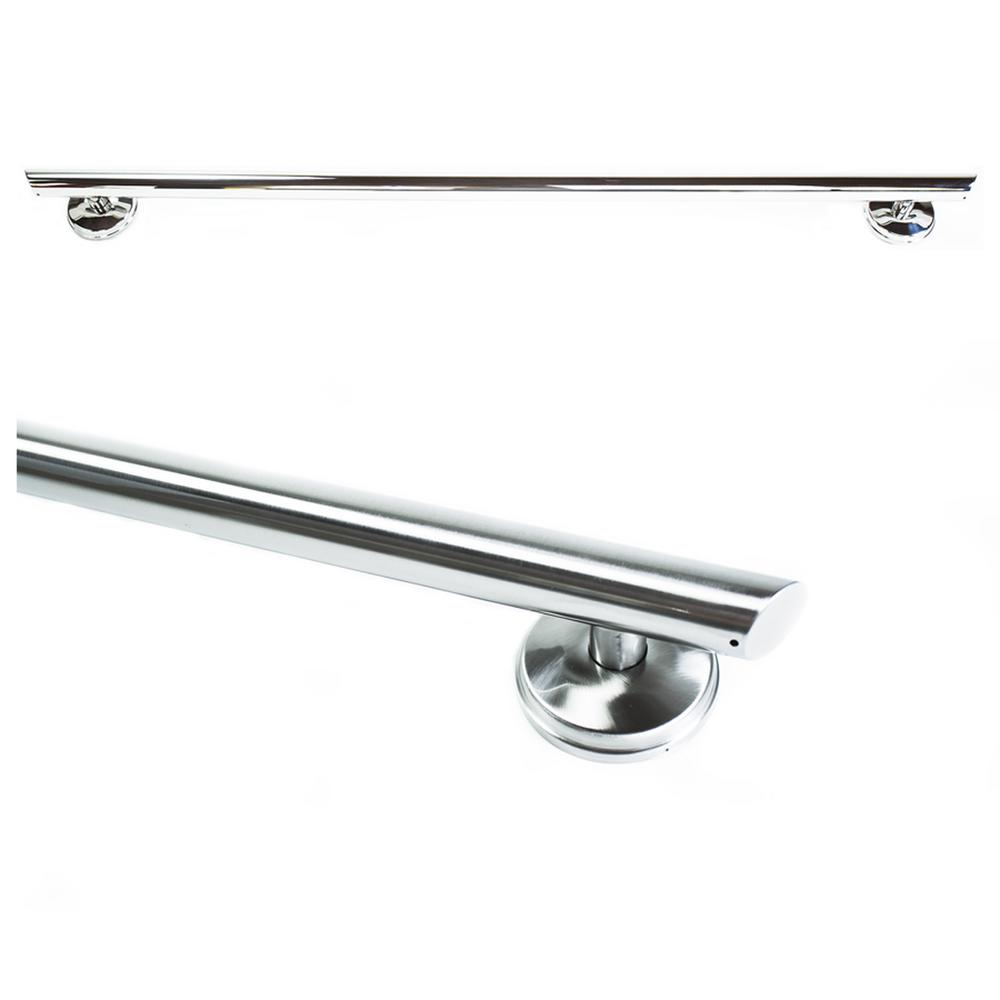 Grabcessories 42 in. x 1.25 in. Straight Decorative Grab Bar with Long Grip and Angled Ends in Brushed Nickel