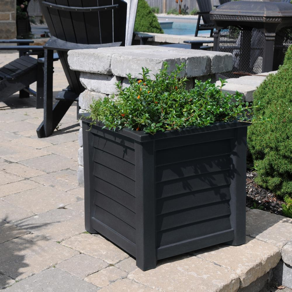 Lakeland 20 in. Square Black Plastic Planter