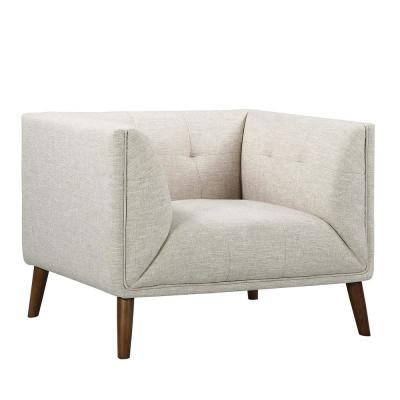 Hudson Beige Linen and Walnut Legs Mid-Century Button-Tufted Accent Chair