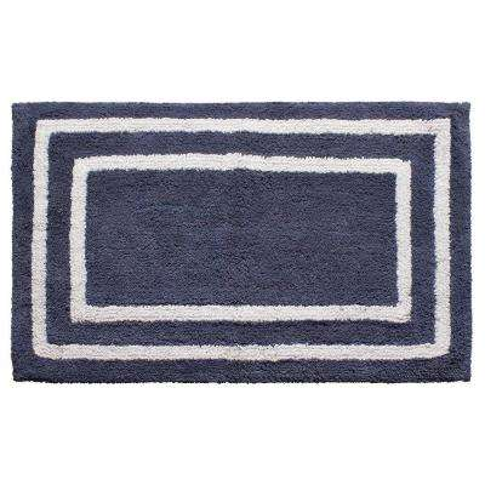 Reversible Cotton Soft Double Border Denim Blue 21 in. x 34 in. Bath Mat