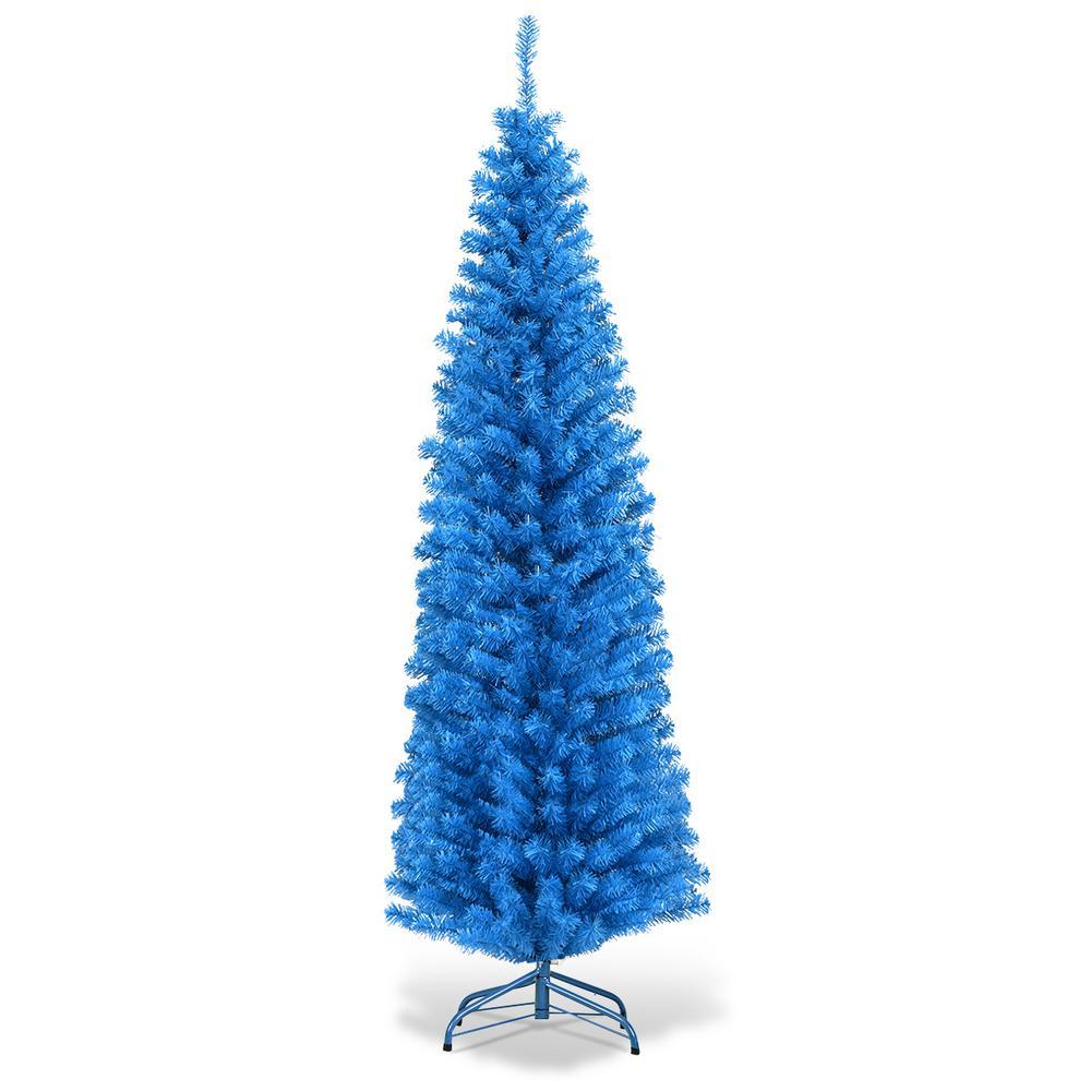 6 ft. Blue Unlit Pencil Slim Tree Artificial Christmas Tree