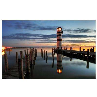 15.75 in. x 23.5 in. LED Lighted Coastal Sunset Lighthouse Scene Canvas Wall Art