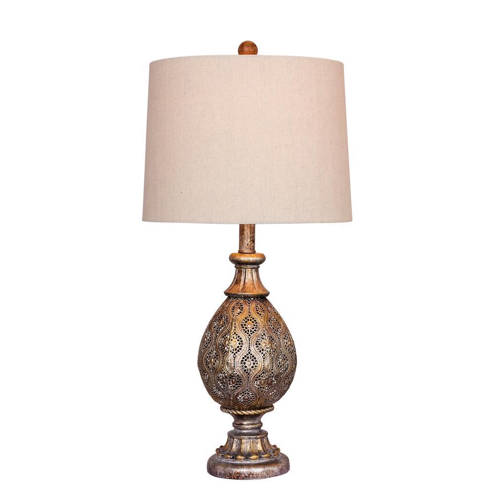 27 in. Rust Grey Moroccan Filigree Pedestal Urn Metal Table Lamp