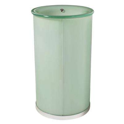 Clematis 19.5 in. W x 19.5 in. D x 34 in. H Pedestal with Integrated Overflow in Frosted Natural White