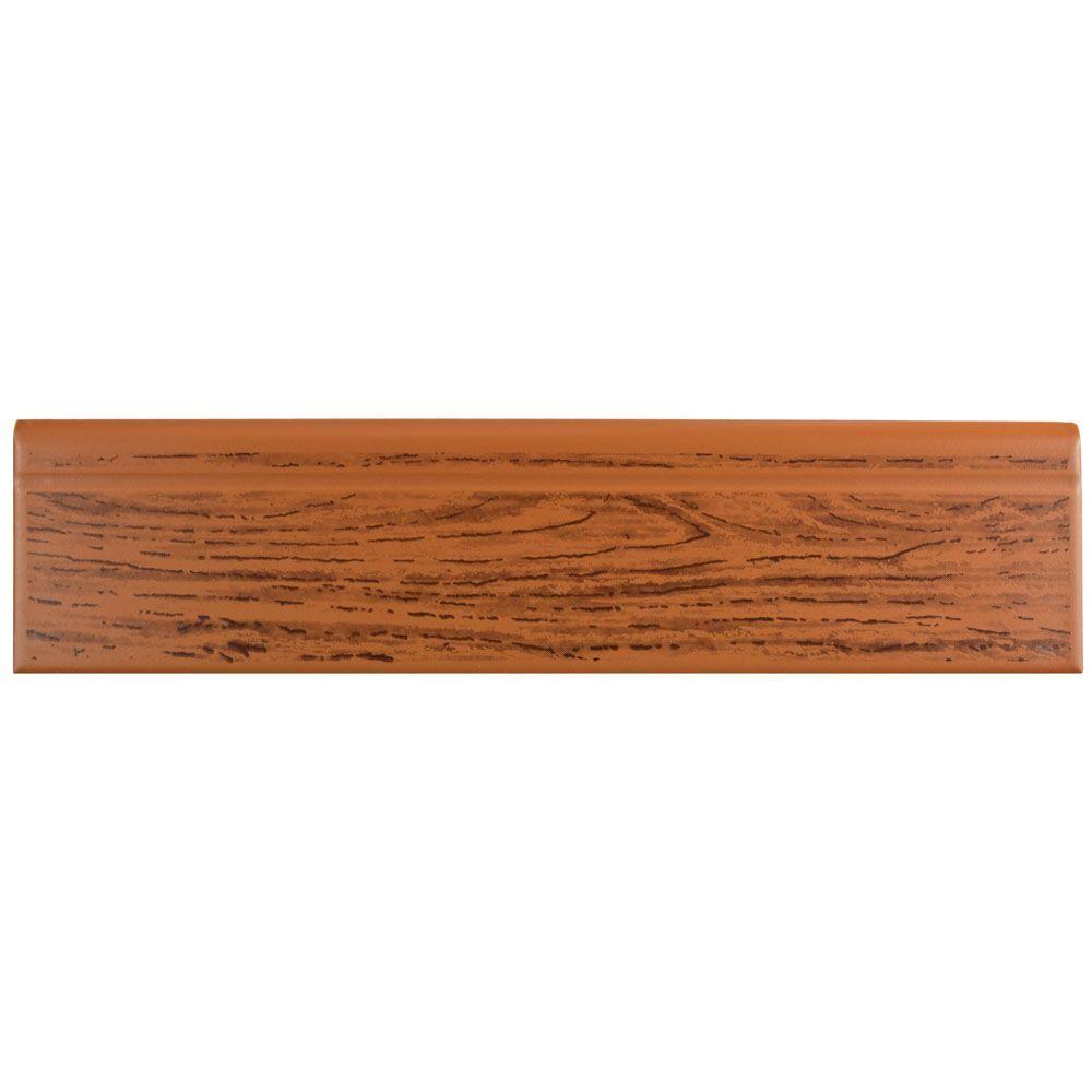 Battiscopa Satin Oak Wood 3-1/4 in. x 13-1/8 in. Ceramic Wall Trim Tile