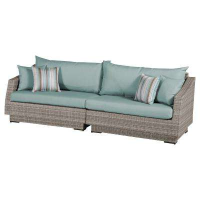 Cannes 2-Piece All-Weather Wicker Patio Sofa with Bliss Blue Cushions