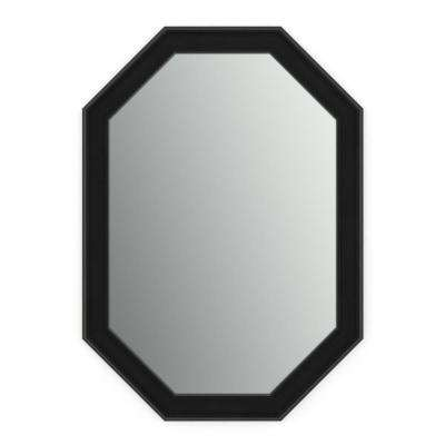 33 in. x 46 in. (L3) Octagonal Framed Mirror with Standard Glass and Easy-Cleat Float Mount Hardware in Matte Black