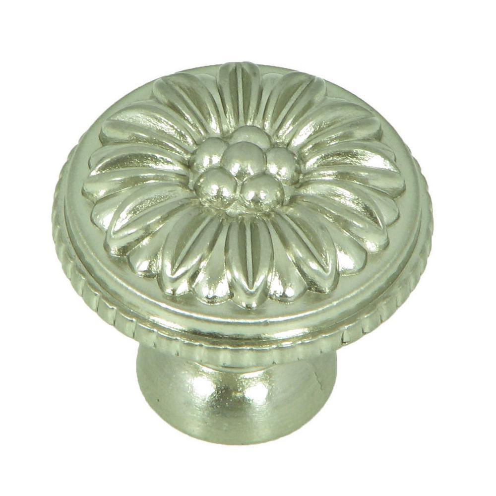 Dahlia 1-3/8 in. Satin Nickel Round Cabinet Knob (25-Pack)