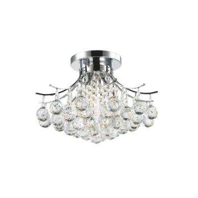 Empire Collection 3-Light Chrome and Crystal Flushmount