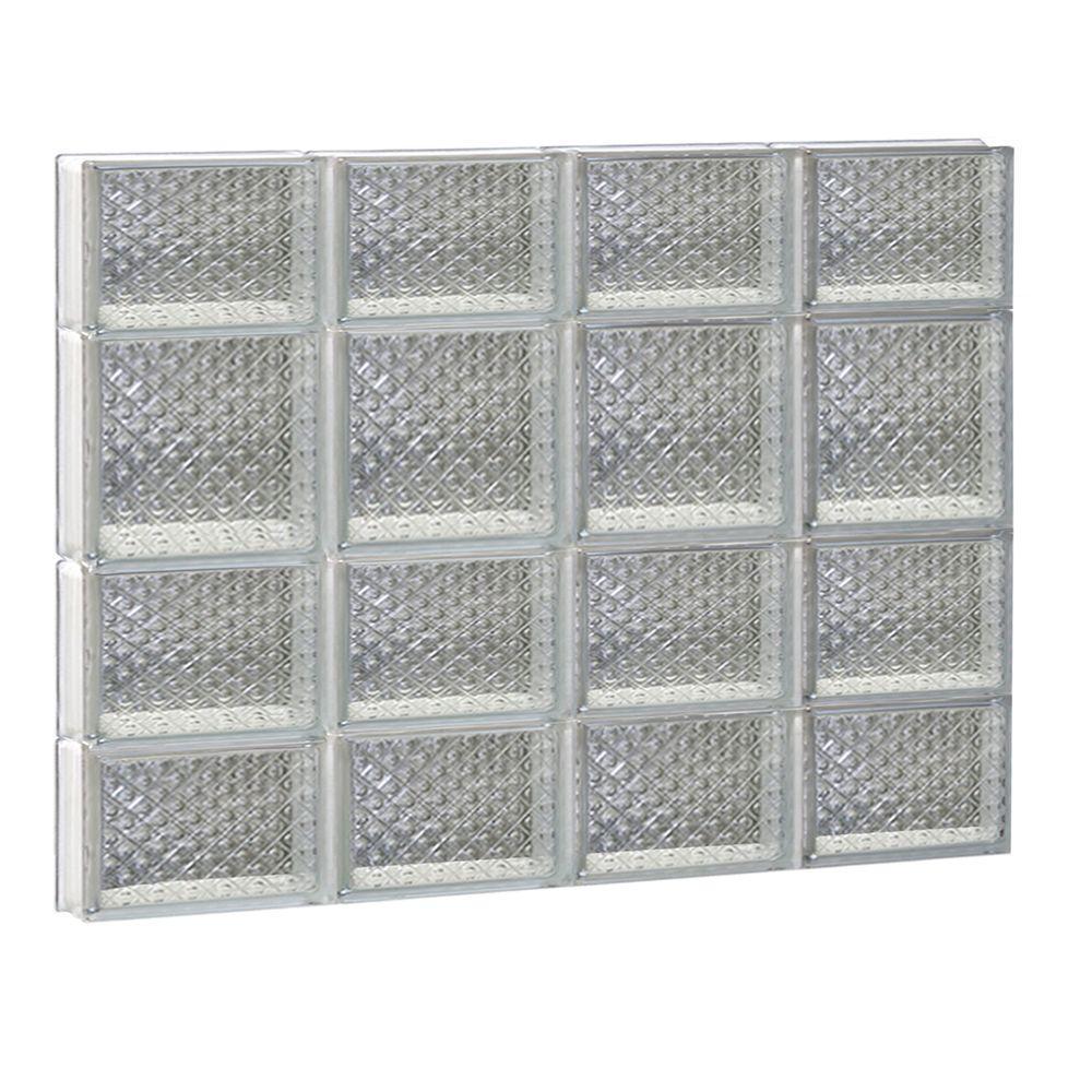 31 in. x 25 in. x 3.125 in. Frameless Diamond Pattern Non-Vented Glass Block Window