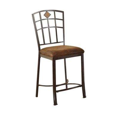 Tavio 24 in. Black Gold Brush Cushioned Bar Stool (Set of 2)