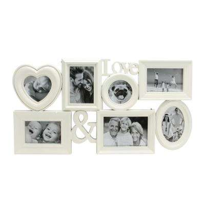 """26.5"""" White Multi-Sized """"Love &"""" Photo Picture Frame Collage Wall Decoration"""