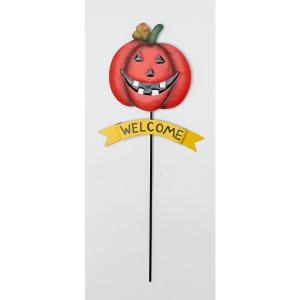 24 in. Halloween Yard Stake With Metal Welcome Sign (Set of 2)