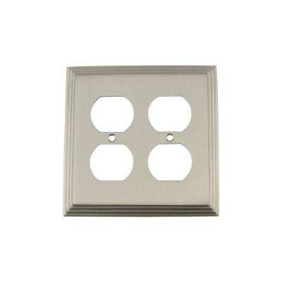 Deco Switch Plate with Double Outlet in Satin Nickel