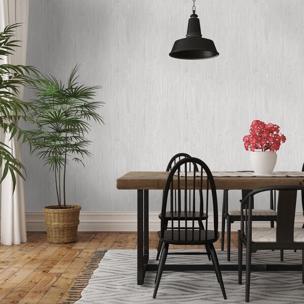 Repeel Repeel Removable Textured Woodgrain Grey Wallpaper by Repeel