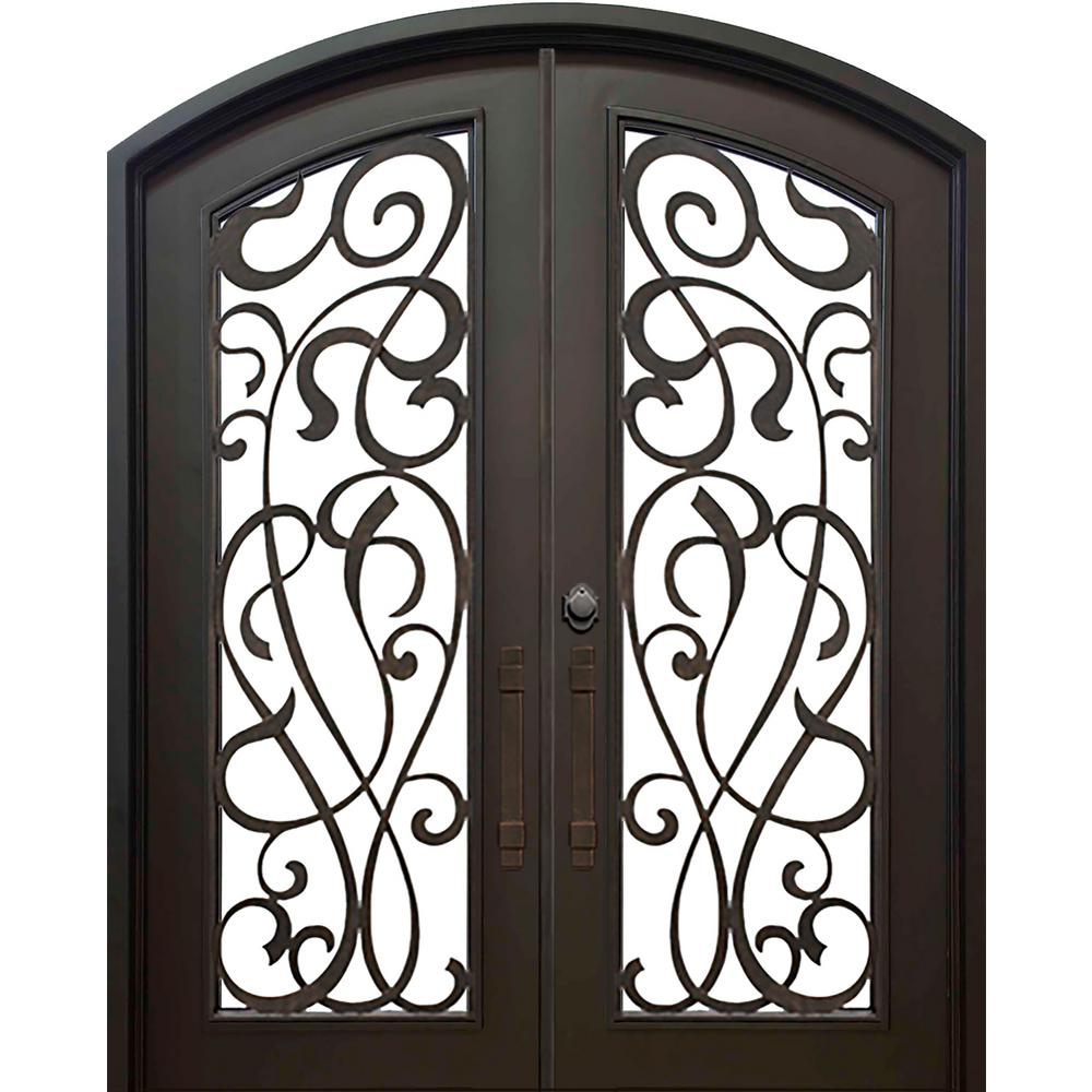 ALLURE IRON DOORS WINDOWS 74 In X 82 Eyebrow St Lucie Dark Bronze 3 4 Lite Painted Wrought Iron Prehung Front Door Hardware Included ST7482ELI6ADB