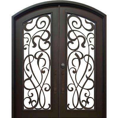 74 in. x 82 in. Eyebrow St. Lucie Dark Bronze 3/4 Lite Painted Wrought Iron Prehung Front Door (Hardware Included)