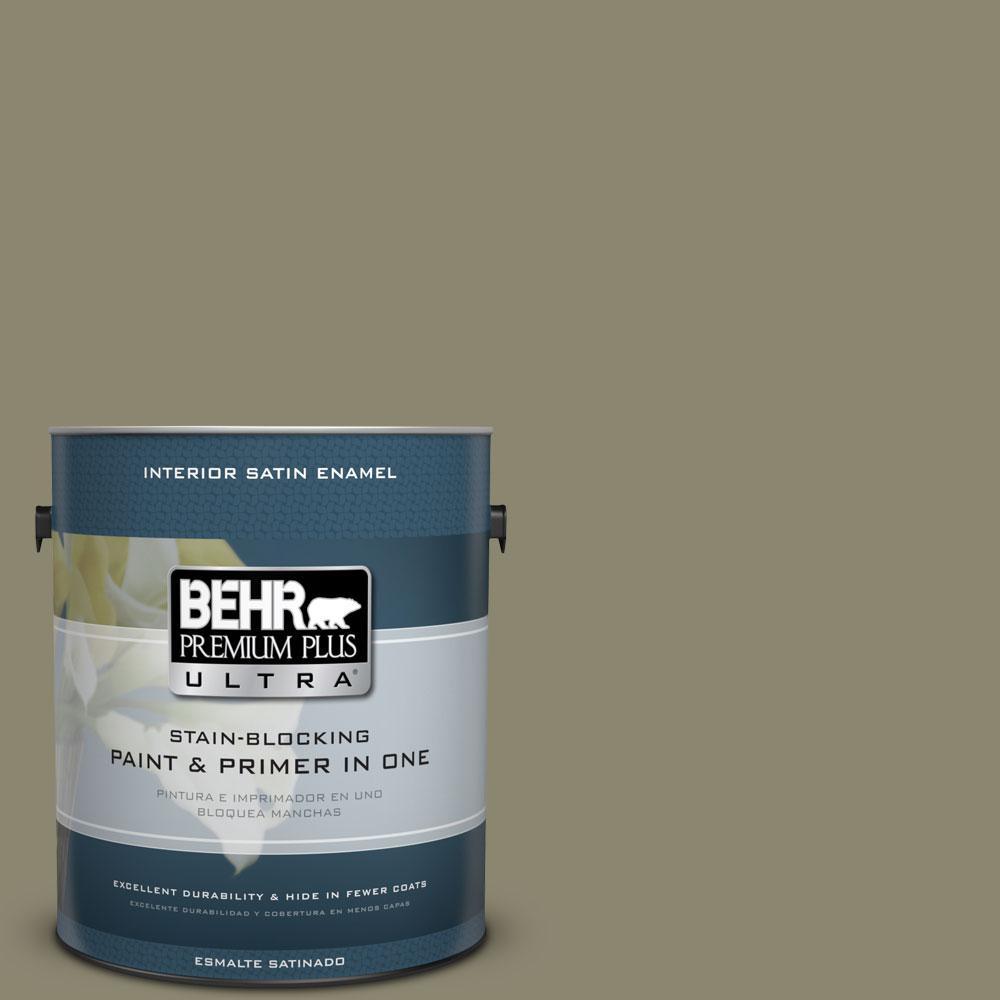 BEHR Premium Plus Ultra 1-Gal. #PPU8-21 Mossy Bank Satin Enamel Interior Paint