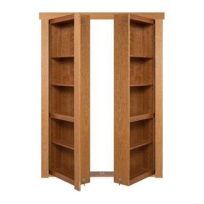 72 in. x 80 in. Flush Mount Assembled Cherry Natural Stained Out-Swing Solid Core Interior French Bookcase Door