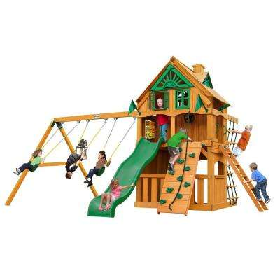 Chateau Clubhouse Treehouse with Fort Add-On and Amber Posts Cedar Playset