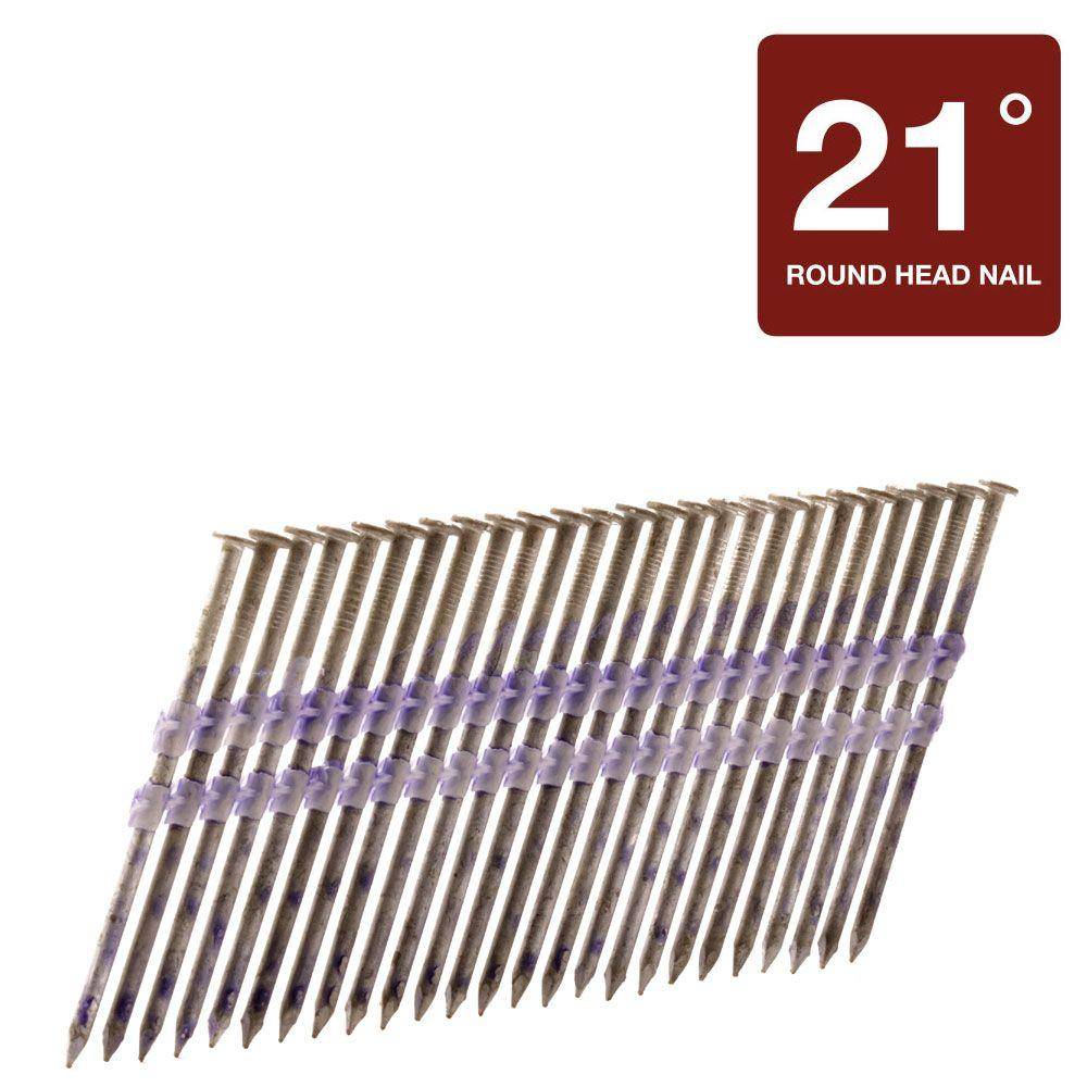 Hitachi 2-1/2 in. x 0.131 in. Full Round-Head Hot-Dipped Galvanized Plastic Strip Framing Nails (4,000-Pack)