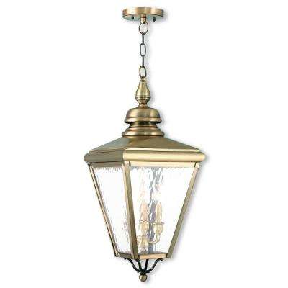 Cambridge Antique Brass 3-Light Outdoor Hanging Lantern