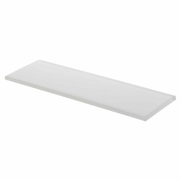 Super White 4 in. x 12 in. Glossy Glass Wall Tile (1 sq. ft. / pack)