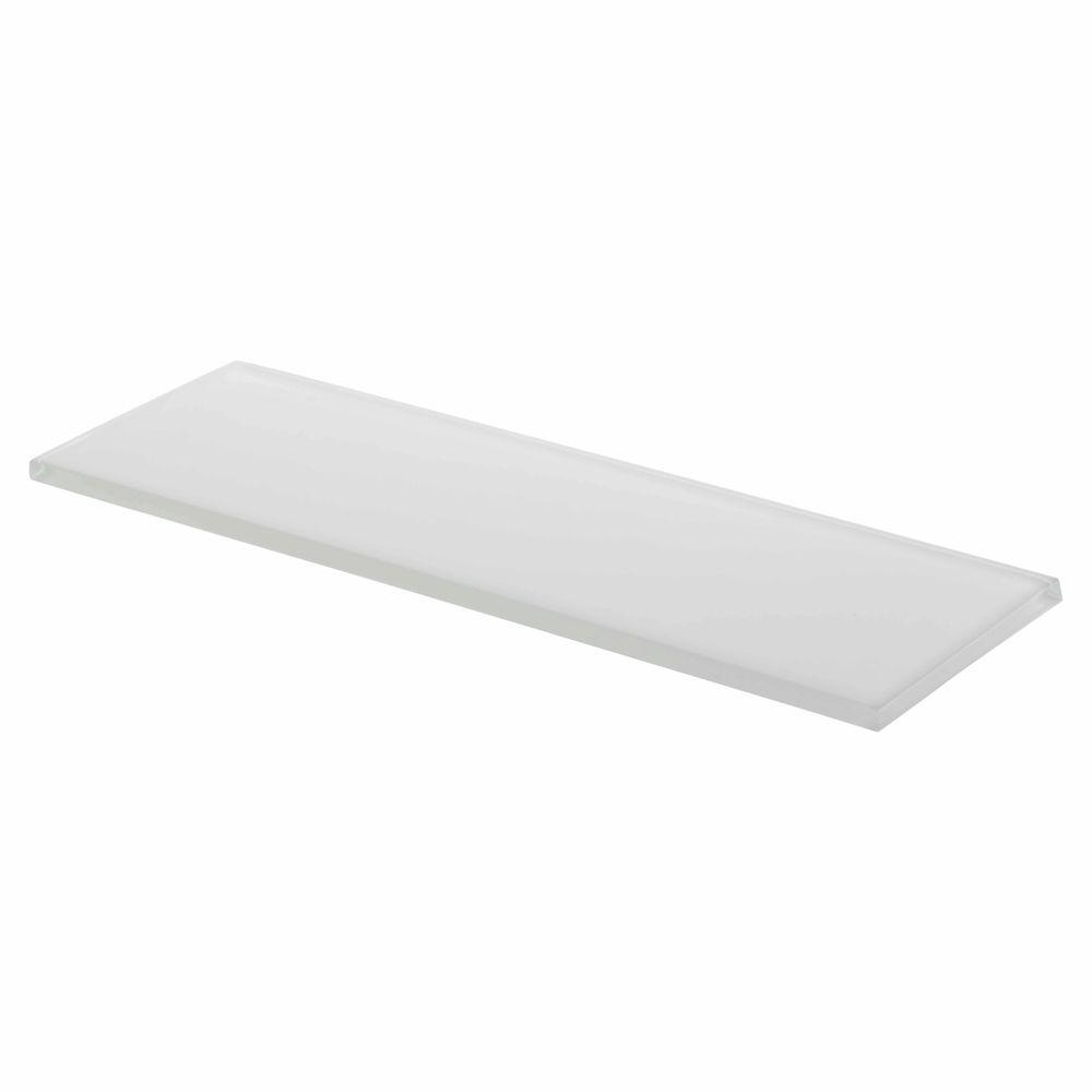 Super White 4 in. x 12 in. Glass Wall Tile (3-Pack)