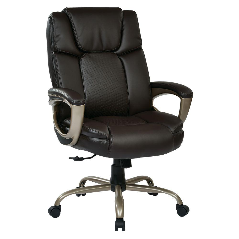 Work Smart Espresso Eco Leather Man S Executive Office Chair