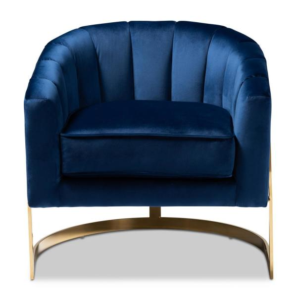 Baxton Studio Tomasso Dark Royal Blue and Gold Fabric Accent Chair