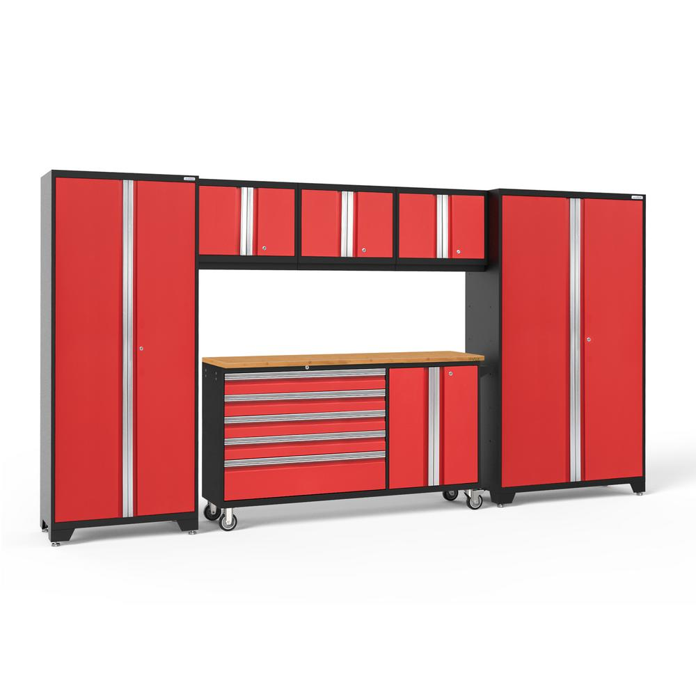 NewAge Products Bold Series 144 in. W x 77.25 in. H x 18 in. D 24-Gauge Steel Garage Cabinet Set in Red (6-Piece)