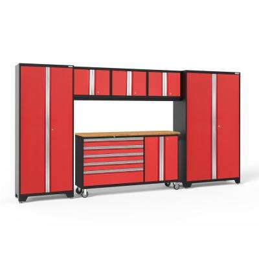 Bold Series 144 in. W x 77.25 in. H x 18 in. D 24-Gauge Steel Garage Cabinet Set in Red (6-Piece)