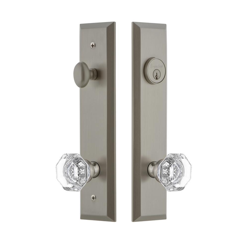 Fifth Avenue Tall Plate 2-3/8 in. Backset Satin Nickel Door Handleset with Chambord Door Knob