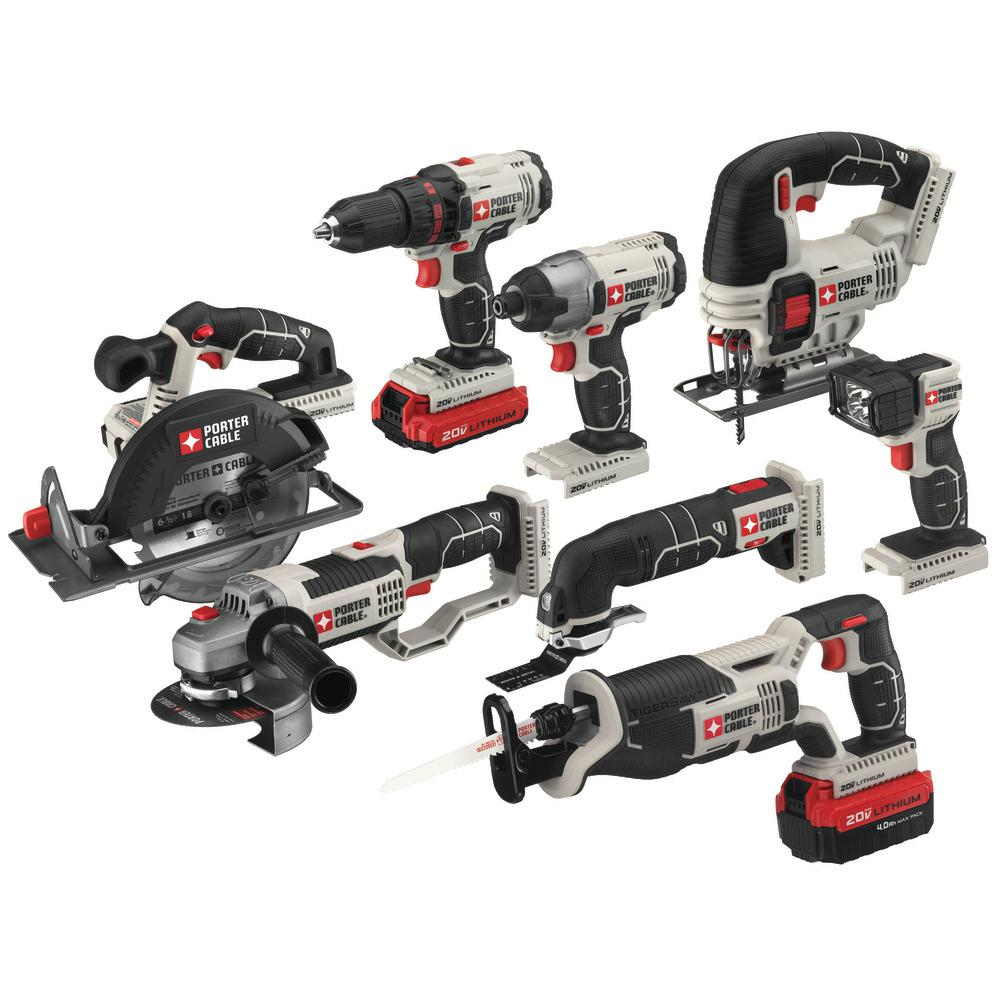 Porter-Cable 20-Volt MAX Lithium-Ion Cordless Combo Kit (8 tool) w/ 4.0 Ahr Battery, 1.5 Ahr Battery, Charger and Bag