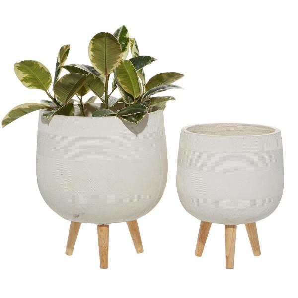 15 in. and 17 in. Planters with Stand and Pot For Indoor Plants Round, White (Set of 2)