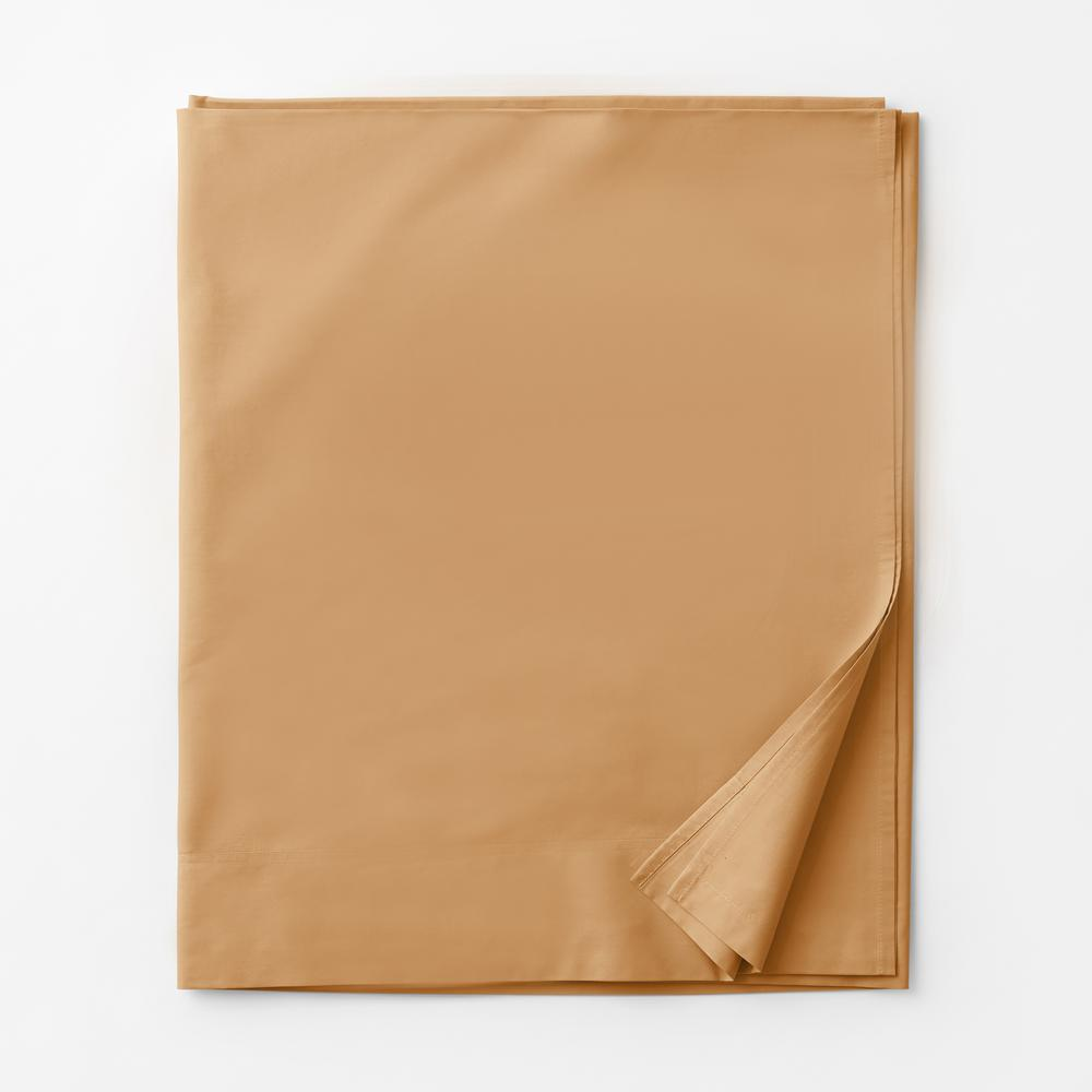 Company Cotton Honey Solid 300 Thread Count Percale King Flat Sheet
